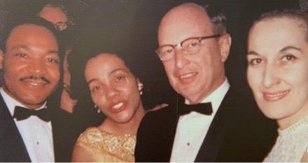 Janice Rothschild Blumberg in 1965 at the dinner in Atlanta honoring the Rev. Martin Luther King after he received the Nobel Peace Prize. Also pictured are Rabbi Jacob Rothschild and Mrs. Coretta Scott King.